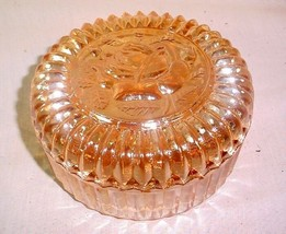 "VINTAGE INDIANA MARIGOLD CARNIVAL GLASS 5"" COVERED CANDY DISH POWDER JAR - $25.73"