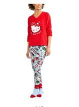 Hello Kitty NWT gift set Holiday Pajamas 3pc.PJ set fleece socks  Med - $28.05