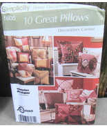Simplicity 5605 Decorating 10  Pillows Sewing Pattern Sunrise Designs Un... - $14.00