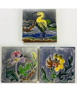 3 Vintage Benjamin Prins Ceramic Pottery Tiles, Signed - $56.90