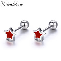 Cute Small Red Five Point Star Sterling Silver Screw Stud Earrings Women Girl Ch - $13.34