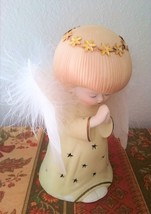 Large Angel Figurine Lights Statue Battery Operated Marabou Feathers Wor... - $37.00