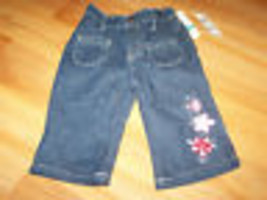 Infant Girl's Size 24 Months Baby Headquarters Denim Blue Jeans Flower F... - $12.00