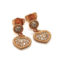 REBECCA BRONZE EARRINGS, 18 MM, PINK HEART, ZIRCONIA, B14ORB11, MADE IN ITALY image 1