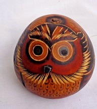 """Owl Hand carved on a Gourd 3"""" Tall from Indigenous Brazil - $12.34"""