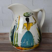 "Vintage Hand Painted Mexico Folk Art Pitcher Keramos 7.75"" Palm Tree - $24.99"