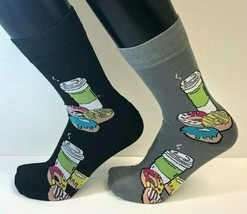2 PAIRS Foozys Men's Socks COFFEE DONUTS, Black Gray, New Ships Free - $8.99
