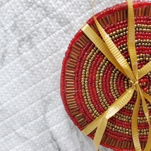 Beaded Coasters, Red & Gold, set of 4, fabric bead mats, holiday coasters image 3