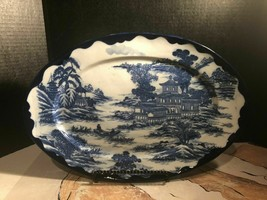 Arita Landscape Chinese Large Plate With Deep Cobslt Blue Fishermen On Lake - $45.53