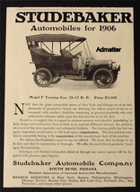 1906 Studebaker Model F & Columbia Mark Xlvii Antique Car Ad Electric Vehicle Co - $9.74
