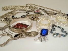 Vtg Costume Jewelry Lot Boho Mod Black Blue Silver Tone Metal Retro Statement - $29.65
