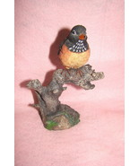 Black and Orange Bird with Spotted Markings on Tree Branch, Collectible ... - $24.74