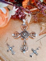 Silver and Gold Vintage Two Tone Cross Necklace Set Art Deco Faith  Pendant - $46.74