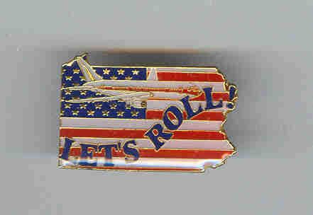 9/11 Flag Airplane Lets Roll Lapel  Flag Pin Badge