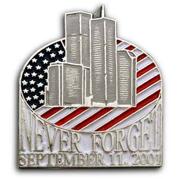 9/11 Flag   Lapel  NEVER FORGET TWIN TOWERS Flag Pin/pINS  Badge