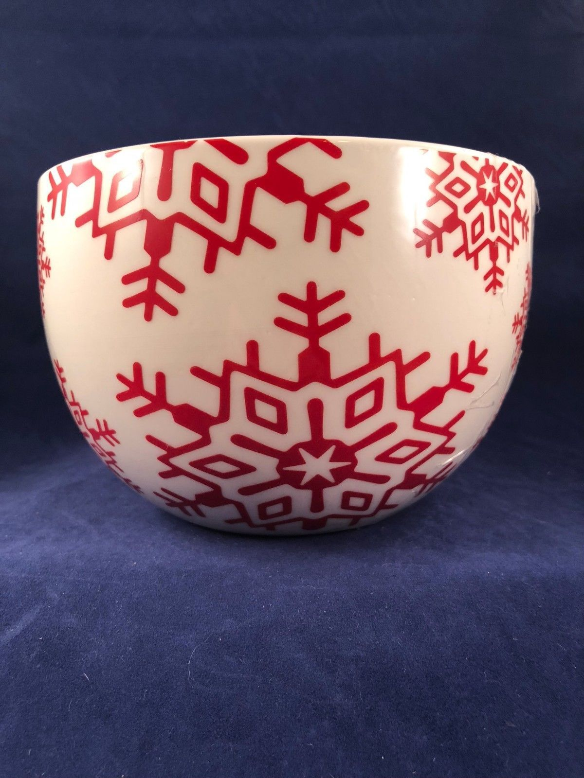 CRATE&BARREL HOLIDAY CHRISTMAS SNOWFLAKE NESTING BOWLS Set 3 Red & White Baking
