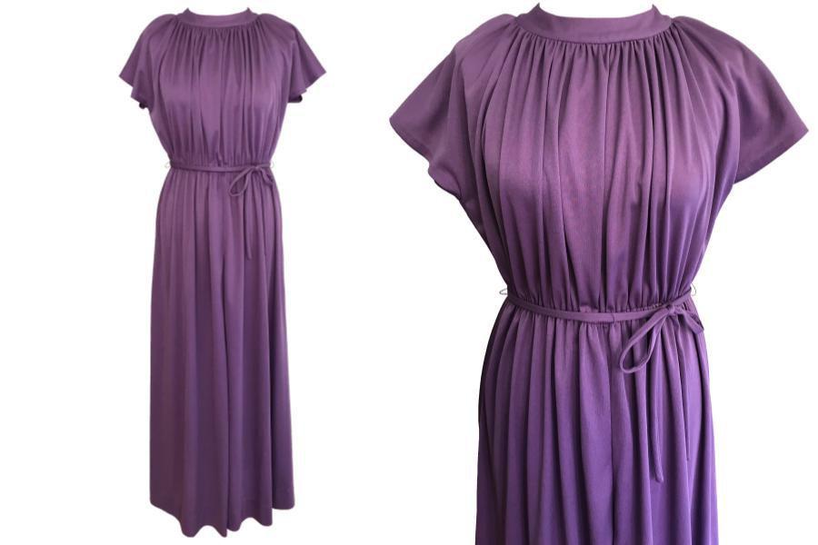 70s Lavender Plum Heather Grecian Style Ruched Draped Tunic Raglan Kimono Sleeve