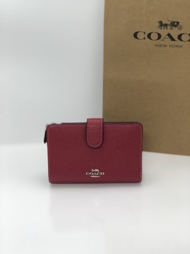 a7004ca2b8c603 12. 12. Previous. NWT Coach F11484 Crossgrain Leather Medium Corner Zip  Snap Wallet Hot Pink  165