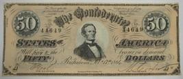 1864 CT-66 $50 Confederate Jeff. Davis Civil War Counterfeit Bank Note PC-237 - $304.67