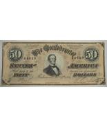 1864 CT-66 $50 Confederate Jeff. Davis Civil War Counterfeit Bank Note P... - $304.67