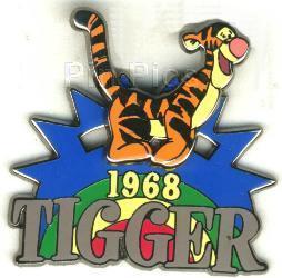 DISNEY Tigger 1968 slidder retired rare pin/pins