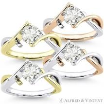 Forever ONE D-E-F Round Cut Moissanite 14k 2-Tone Gold Solitaire Engagement Ring - €732,23 EUR - €1.839,76 EUR