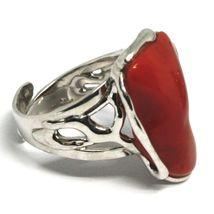 ANNEAU EN ARGENT 925, CORAIL ROUGE NATUREL CABOCHON, MADE IN ITALY image 3