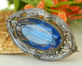Vintage Victorian Blue Glass Rhinestone Cabochon Pin Brooch - $39.95