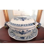 Bohemia Ceramic Works Vintage Porcelain Dark Blue Onion Tureen W Lid Und... - $160.00