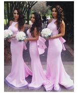 Pink Satin Mermaid Bridesmaid Dresses  Backless Prom Party Dresses - $139.99+