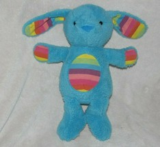 "12"" Animal Adventure Blue Bunny Dog Plush Rainbow Stripe 2014 Stuffed Toy Lovey - $24.49"