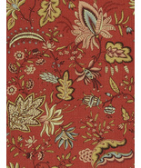 2 Yards Fabricut French General Josephine Rural Red 1734504 Floral Linen Fabric - $78.99