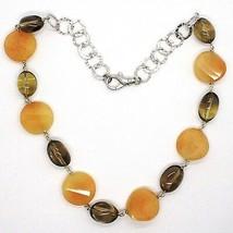 Halskette Silber 925, Jade Braun Disco Wellig, Quarz Rauchquarz Oval image 2