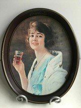 Vintage Coca Cola Oval Serving Tray 1923 Reprint 20s Style GIRL Woman 1973 - $24.99