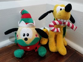 "Disney Store Holiday Christmas 7"" Pluto with Candy Cane and Round Elf Plush Set - $10.22"