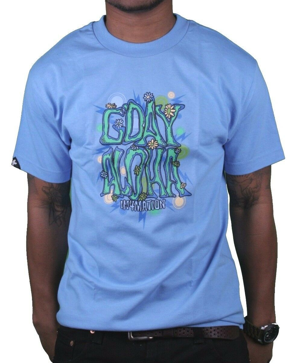 In4mation Mens Carolina Blue G'Day Happy Flower Power Good day T-Shirt NWT