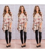 Women Half Sleeve Print Floral Summer Loose Blouse Round Neck Casual Cot... - $39.60