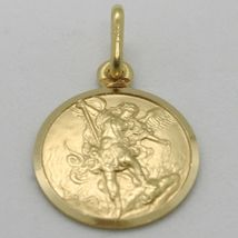 SOLID 18K YELLOW GOLD SAINT MICHAEL ARCHANGEL 15 MM MEDAL, PENDANT MADE IN ITALY image 3