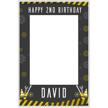 Construction Work Birthday Party Selfie Frame Poster - $16.34+