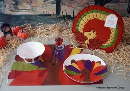 CRATE & BARREL THANKSGIVING PLACE SETTING (4) AND POTTERY BARN KIDS CHAI... - $49.95