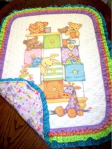 "Hand Quilted  XStitched ""BABY DRAWERS"" Baby Quilt Crib Blanket add baby'... - $179.99"