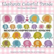 Elephants Colorful Parade cross stitch chart Pinoy Stitch - $10.80