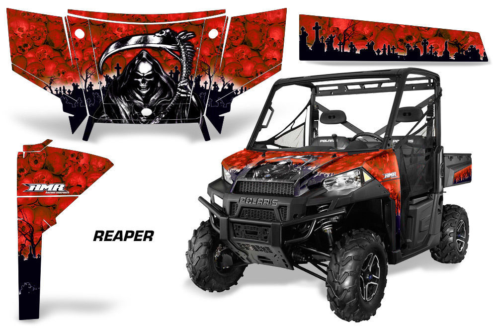 UTV Graphics Kit SxS Decal Wrap For Polaris Ranger 570 900 2013-2015 REAPER RED
