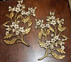 "Syroco Gold Cream Dogwood Flowers Branch Wall Plaque Decor 13"" c.1967 - $65.00"