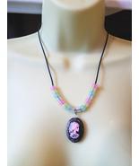 skeleton skull lady glow in the dark beaded necklace stone gemstone goth... - $6.99