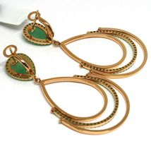 Drop Earrings Rose Gold 750 18K, Drops Movable, Aventurine, Closing Clips image 2
