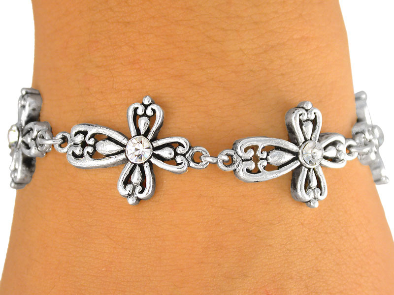 Antiqued Cross BRACELET Austrian Crystals