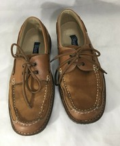 Bass Cardiff Mens Shoes Size 10.5M Light Brown Leather Lace Up Boat  - $38.61