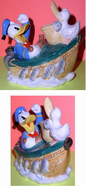 Disney Donald Duck Boat Porcelain Bank