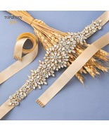 TOPQUEEN S319-G Gold Bridal Belt with Rhinestones Wedding Dress Belts fo... - £9.99 GBP